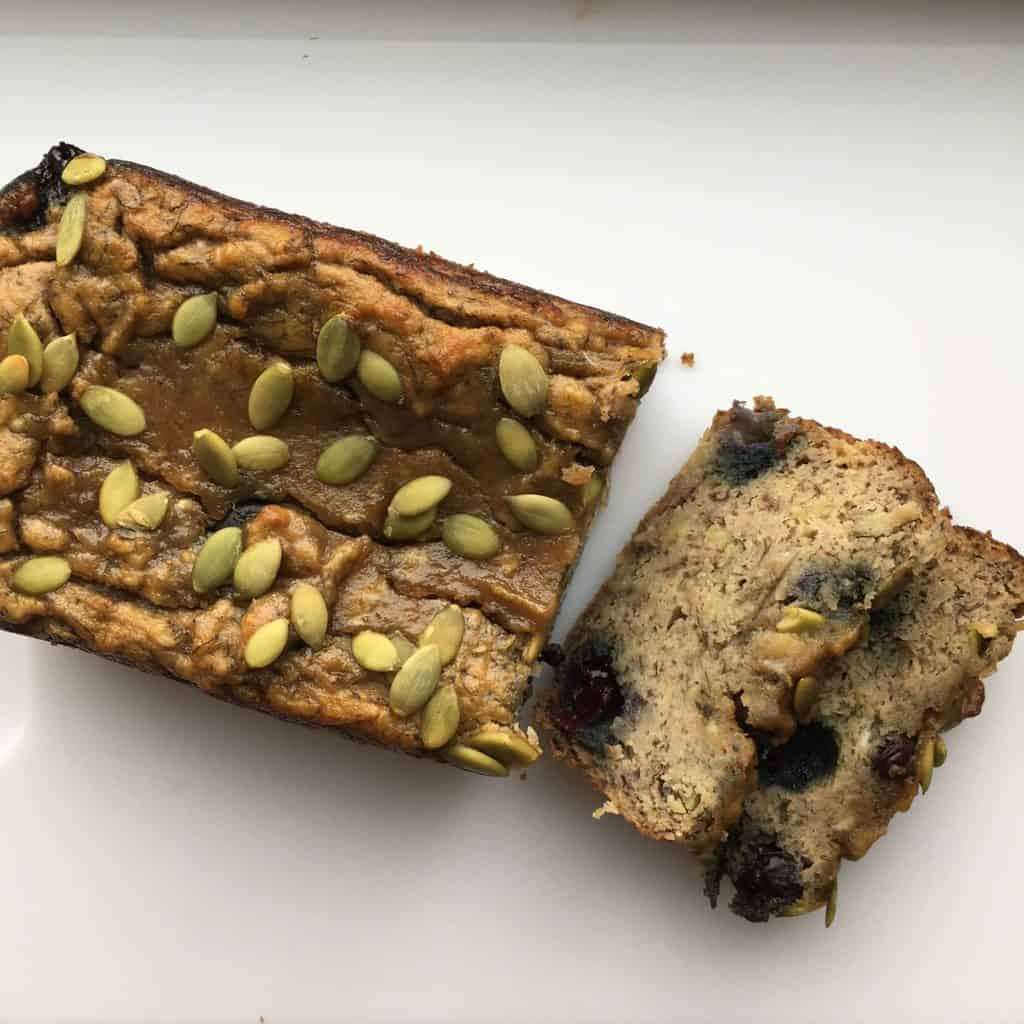 Paleo Banana Blueberry Pumpkin Seed Loaf {GF, Sugar Free, Oil free}