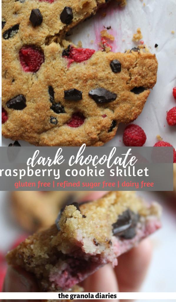 Dark Chocolate Raspberry Cookie Skillet {Gluten Free, Sugar Free, Grain Free, Dairy Free} #glutenfree #dairyfree #sugarfree #cookieskillet