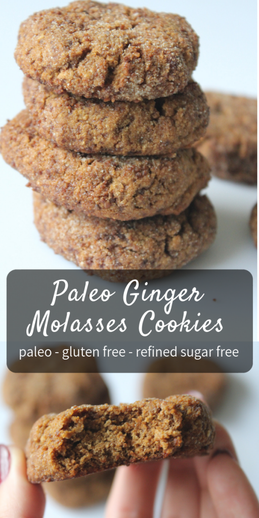 Healthy Paleo Ginger Molasses Cookies - the best holiday cookie recipe! Small batch, easy, gluten free, dairy free, so delicious! #paleo #cookies #gingercookies #gingermolasses