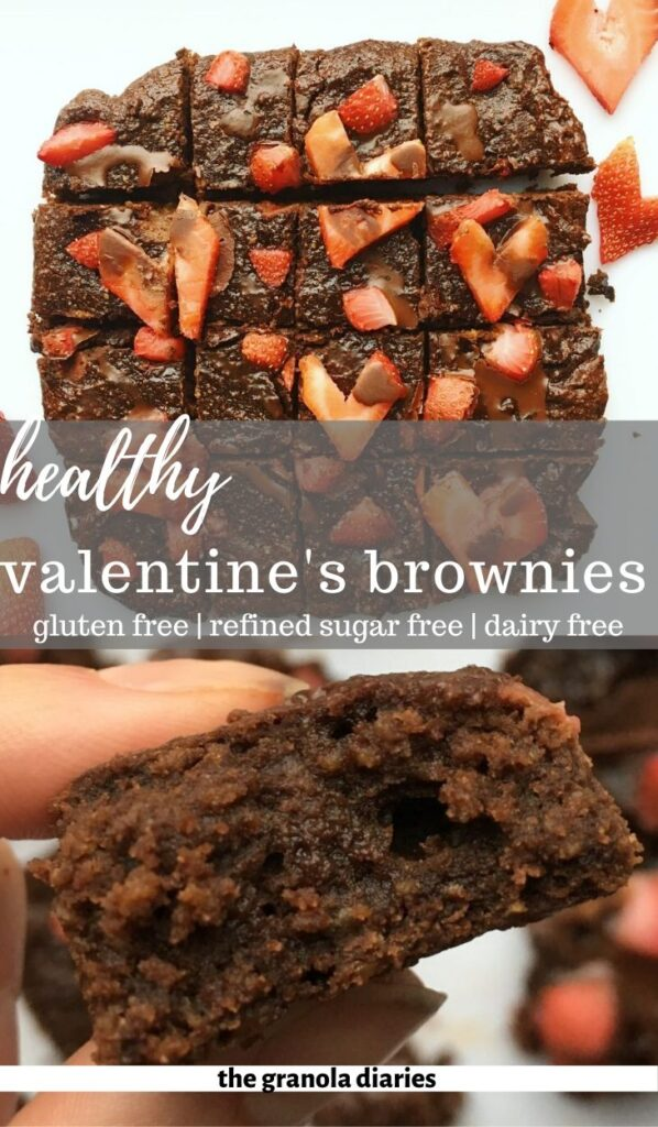 These Healthy Valentine's Day Brownies are delicious, romantic, and secretly healthy too! They scream LOVE! Gluten free and dairy free. #brownies #valentinesday #glutenfree #dairyfree