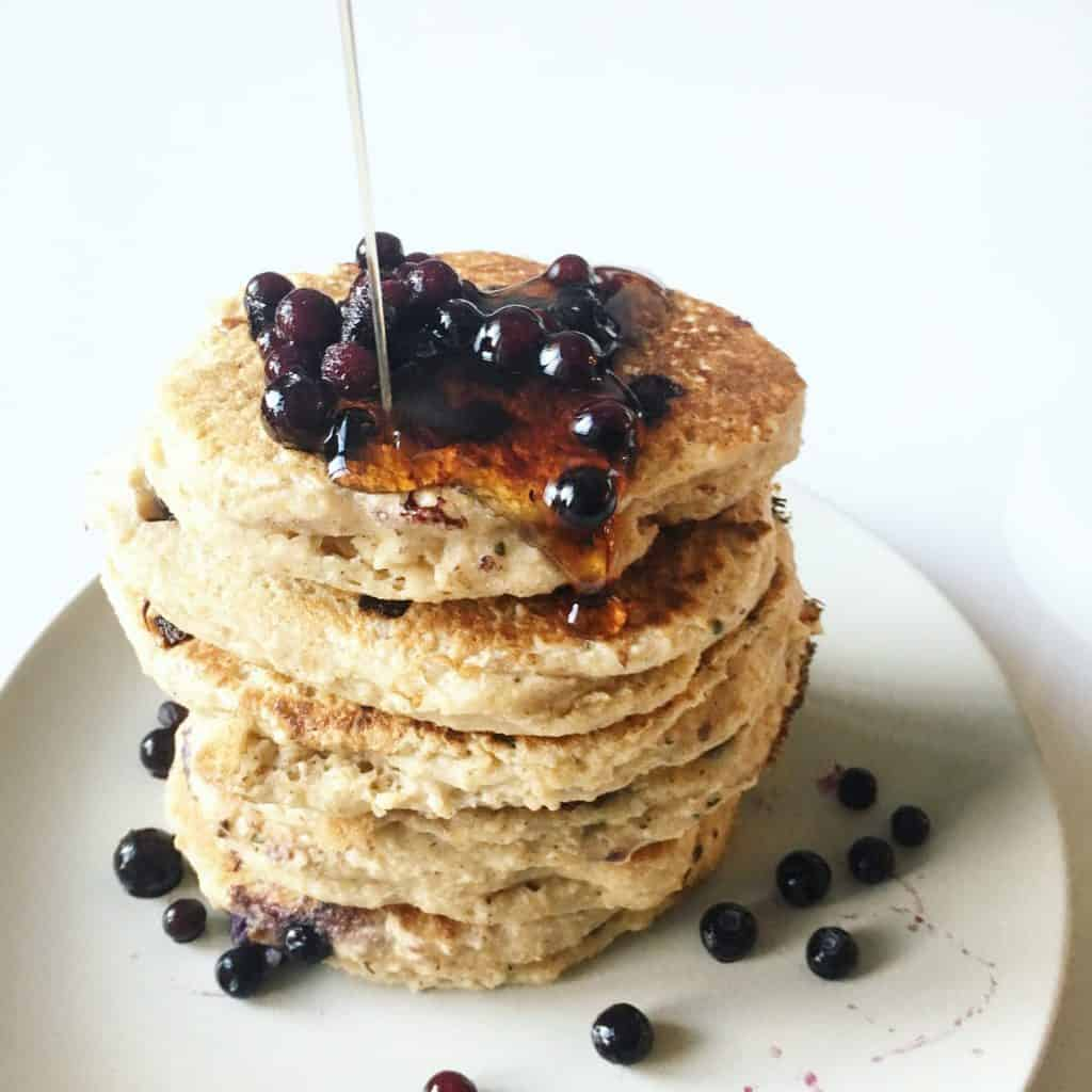 The Healthiest Fluffiest Blueberry Pancakes {Gluten Free, Sugar Free}