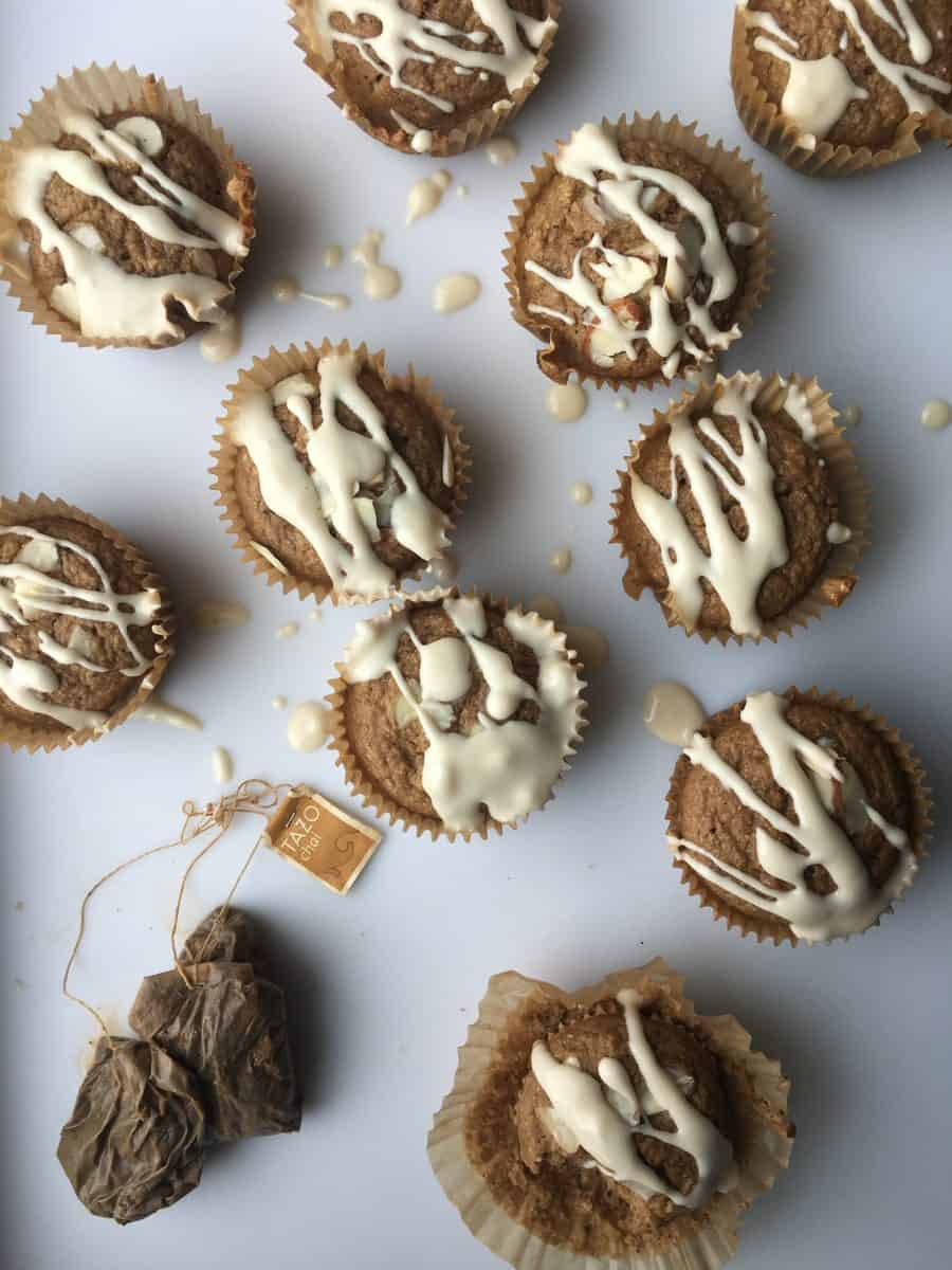 Healthy Chai Latte Muffins with Coffee Glaze {Gluten Free, Sugar Free, Dairy Free}