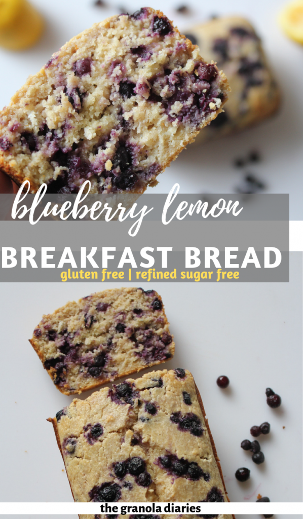 This Lemon Blueberry Bread is perfect for breakfast; the ingredients are all nutritious, filling, and won't cause a sugar crash (sweetened with just a touch of honey)! With a base of oat flour, this bread is *almost* equivalent to a nutritious bowl of oatmeal for breakfast. Except the lemon and blueberry make it feel a lot more springy than a bowl of wintery oatmeal!