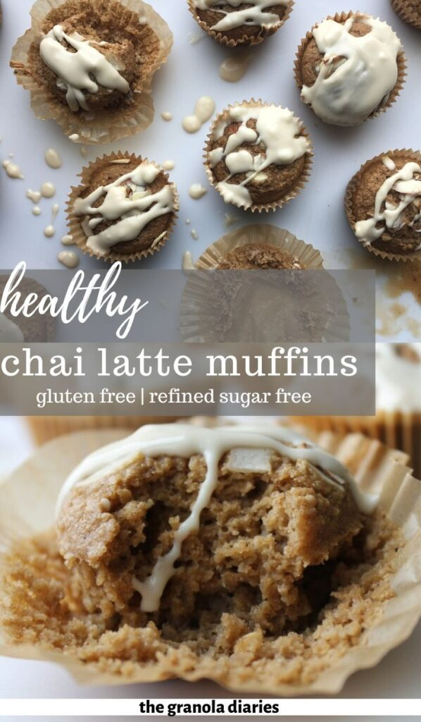 These Chai Latte Muffins are delicious, warming, and fluffy, with a hint of spice and kick of caffeine! Naturally gluten free and dairy free. #chailatte #healthymuffins #glutenfree #dairyfree #vegan