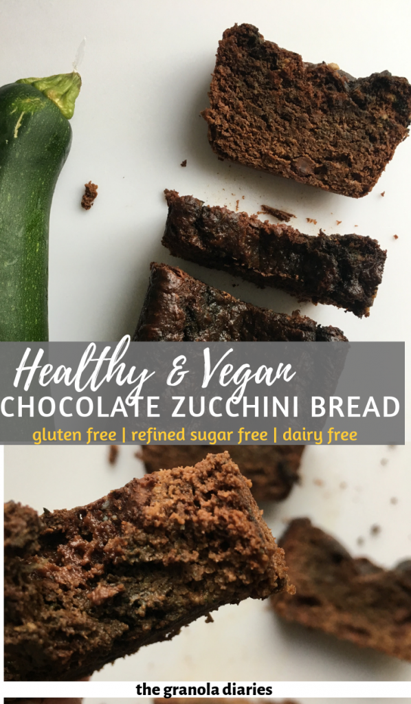 Healthy Vegan Chocolate Zucchini Bread #glutenfree #vegan #chocolatezucchini #veganbaking #veganzucchinibread