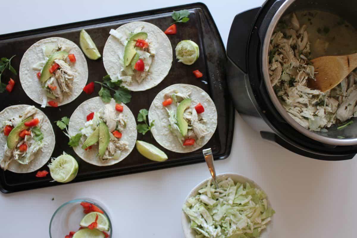 Cilantro Lime Chicken Tacos {Gluten Free, Paleo, Instant Pot}