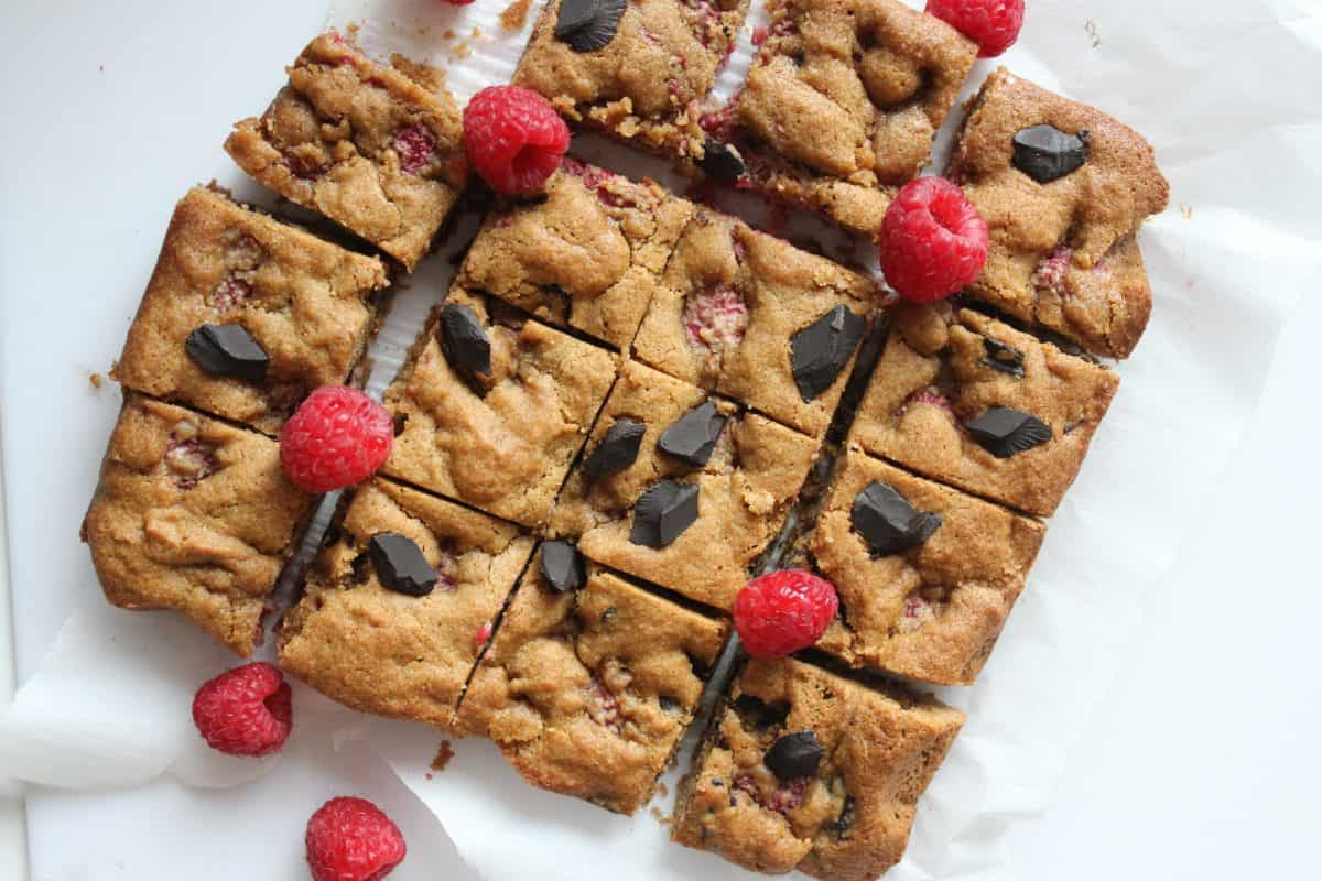 Raspberry Chocolate Chunk Blondies {Gluten Free, Refined Sugar Free, Dairy Free]