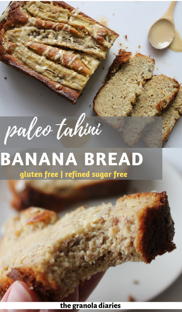 "The 2 main ingredients of this bread are in the title: Tahini & Banana. Add some almond flour to give it a ""bready"" texture, some eggs to bind it all together, and a touch of honey to sweeten it ever-so-slightly, and that's it! A gluten free, paleo, sugar free and simple banana bread recipe!"