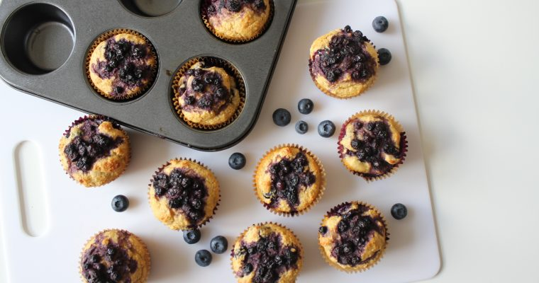 Healthy Blueberry Muffins {Gluten Free, Sugar Free}