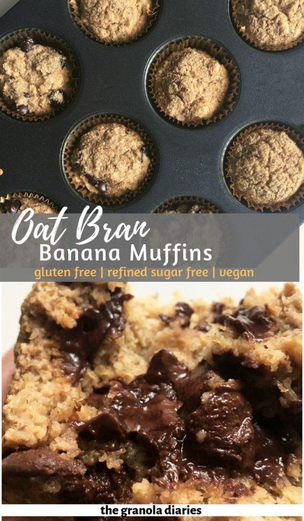 healthy oat bran banana muffins #vegan #glutenfree #oatbran #bananamuffins