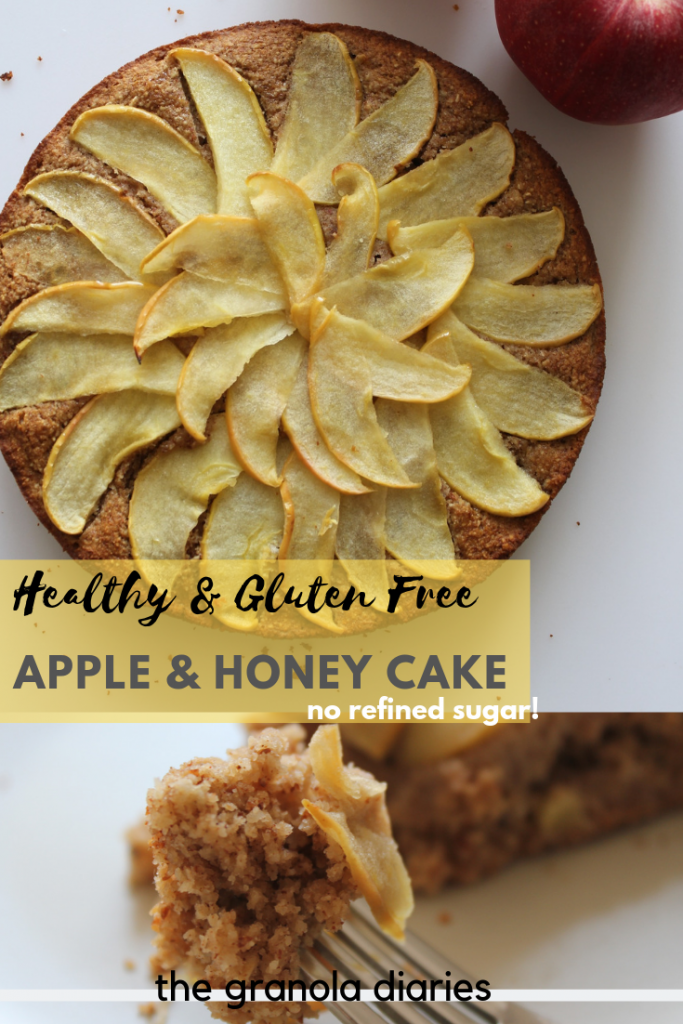 This Gluten Free Apple & Honey Cake is the perfect dessert for Jewish New Year/Rosh Hashana. It is naturally gluten free, dairy free and sweetened only with honey - perfect for a happy and healthy new year! Made with applesauce, oat flour, almond flour, honey. #glutenfree #dairyfree #applecake #honeycake #jewishnewyear