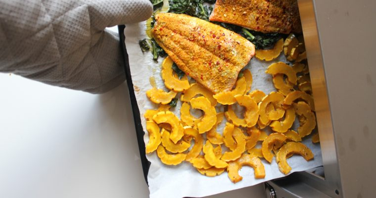 Sheet Pan Turmeric Salmon and Delicata Squash