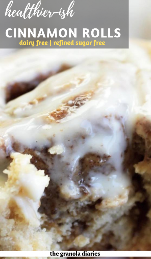 Fluffy healthy and refined sugar Cinnamon Rolls! The ingredient list is super minimal and you most likely have all the ingredients on hand:  Almond Milk Butter/Ghee/Coconut Oil Coconut Sugar Yeast Flour Salt Cinnamon That's it!