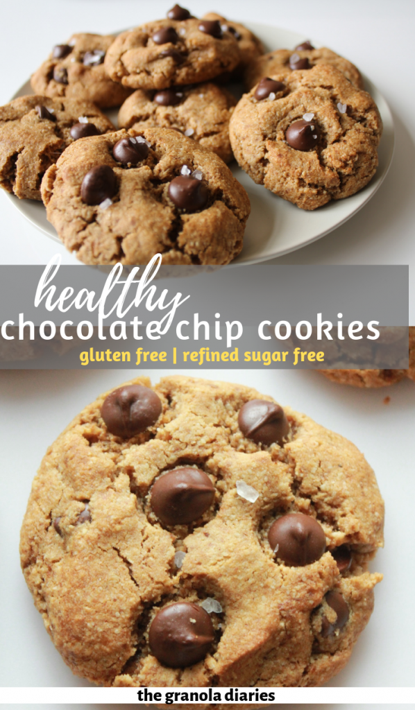 Healthy Flourless Chocolate Chip Cookies are made with coconut sugar, almond flour, almond butter, coconut flour, and some butter or coconut oil! #glutenfree #refinedsugarfree and #dairyfree