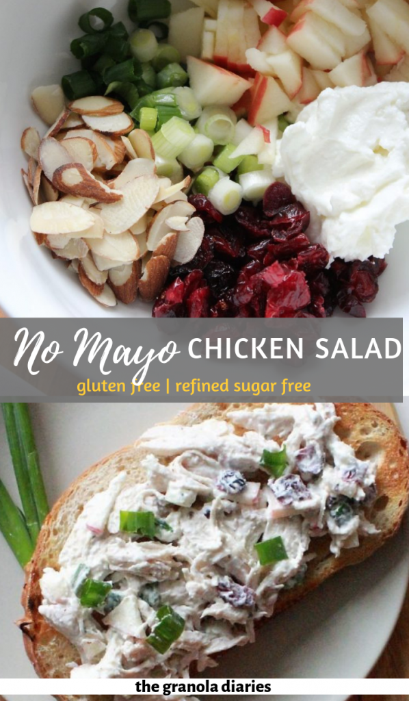Healthy Chicken Salad made with no mayo, cranberries, apples, greek yogurt, celery, almonds, and green onion #chickensalad #healthychickensalad #mayofreechickensalad #healthyrecipes #mealprep