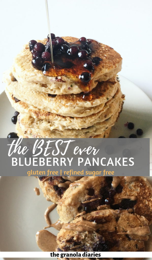 Healthy Blueberry Pancakes made with oat flour, greek yogurt, almond milk, and an egg or flax egg. Gluten free and sugar free. #glutenfree #healthypancakes #sugarfreepancakes #fluffypancakes #bluberrypancakes #glutenfreepancakes