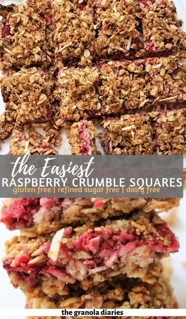 Easy Raspberry Crumble Bars Recipe! #raspberrycrumblesquares #raspberryoatsquares #healthytreatrecipes