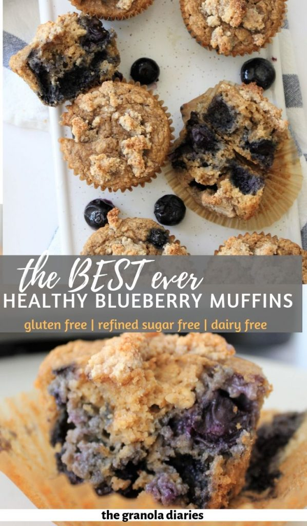 Healthy Blueberry Streusal Muffins that are naturally gluten free, dairy free, and made without refined sugar! #healthybluerrymuffins #muffinrecipe #healthybaking
