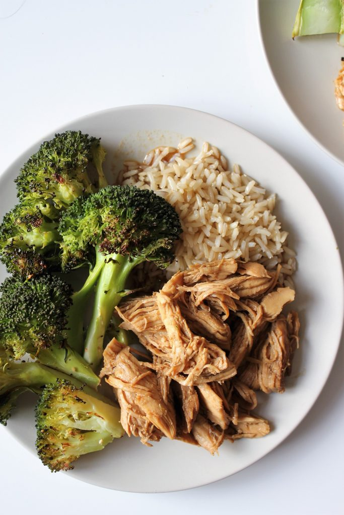 Instant Pot Teriyaki Chicken with blasted broccoli and brown rice. A great gluten free meal prep and healthy option!