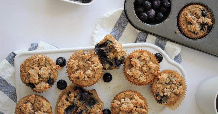 Healthy Blueberry Streusal Muffins (Gluten & Dairy Free)