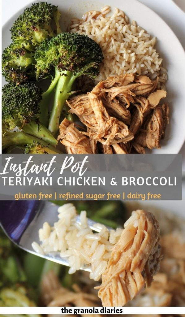 Instant Pot Teriyaki Chicken with blasted broccoli and brown rice. A great gluten free meal prep and healthy option! #mealprep #chickenteriyaki #instantpotrecipes #healthydinner