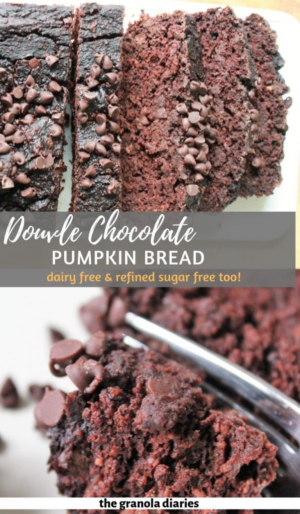 Healthy Chocolate Pumpkin Bread made with just 6 main ingredients including oat flour, canned pumpkin puree, and maple syrup. #chocolatepumpkinbread #healthypumpkinbread #glutenfreebaking