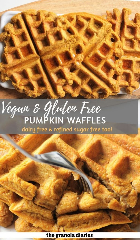 Healthy Vegan Pumpkin Waffles made with oat flour and real pumpkin puree! #pumpkinwaffles #veganwaffles #glutenfreewaffles