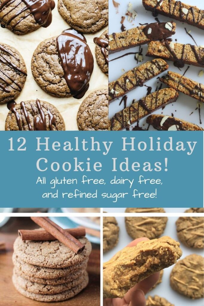 12 Healthy Holiday Cookies Recipes that are all gluten free, dairy free and refined sugar free! Many are vegan and paleo friendly too! #healthycookies #glutenfree #dairyfree #holidaycookies