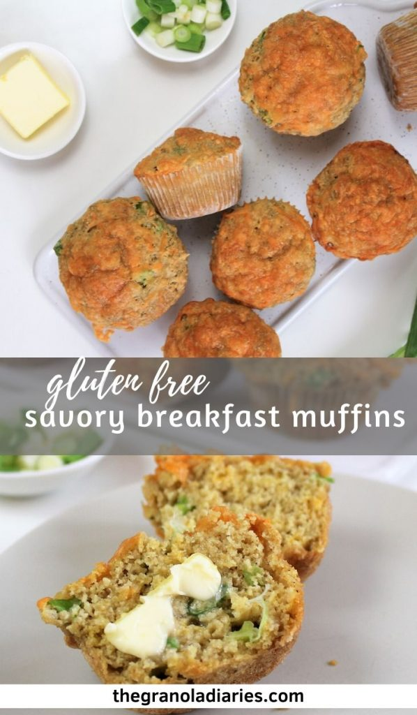 Gluten Free Savory Cheddar Muffins made with scallions. Easy breakfast recipe! #glutenfree #savorymuffins #cheddarmuffins #healthybreakfast