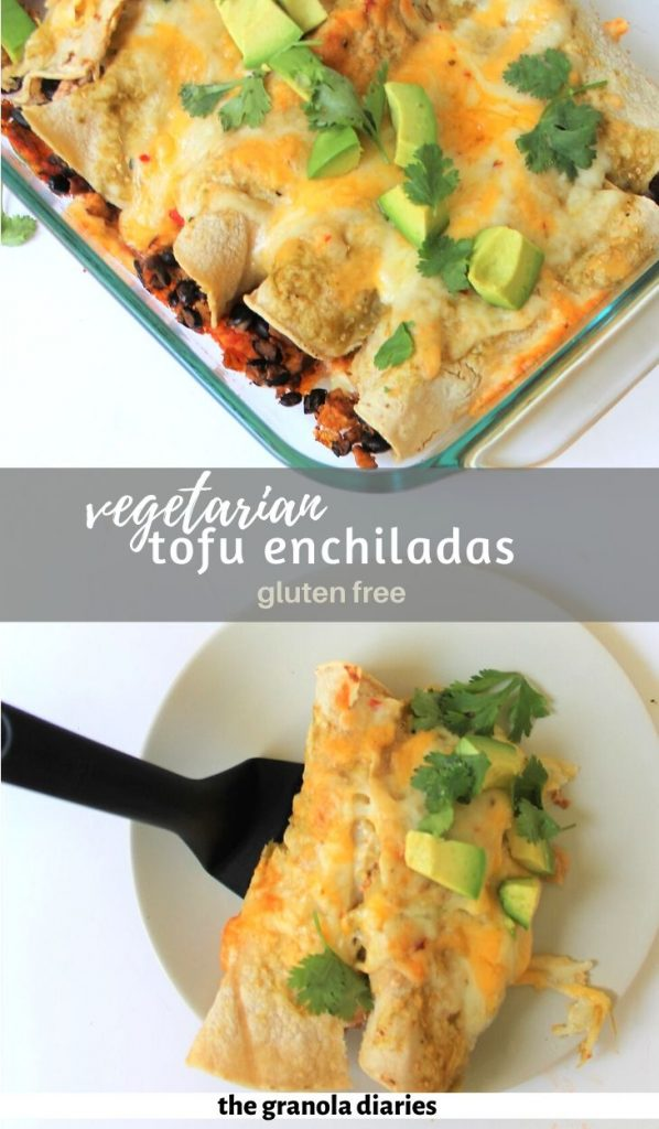 These Vegetarian Enchiladas are packed with protein from tofu and beans, fresh veggies, and flavorful spices. #enchiladas #vegetarian #dinnerideas #glutenfree