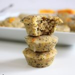 Stack of gluten free orange poppyseed muffins