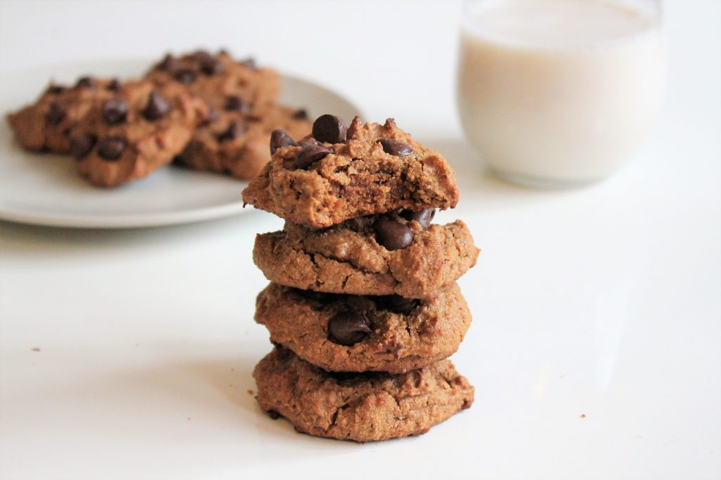 Stack of flourless almond butter cookies