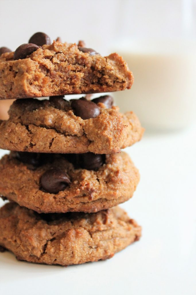 Nice stack of gluten free chocolate chip cookies made from almond butter
