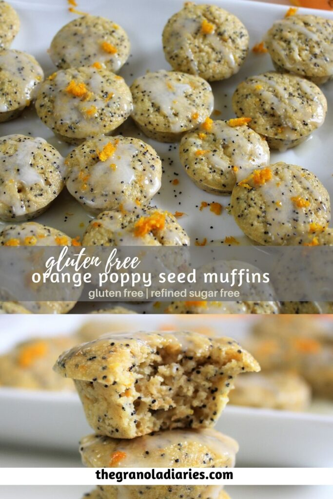 Gluten Free Orange Poppy Seed Muffins, refined sugar free and no butter. Made with oat flour and honey. #healthymuffins #glutenfree #orangemuffins #poppyseed #refinedsugarfree