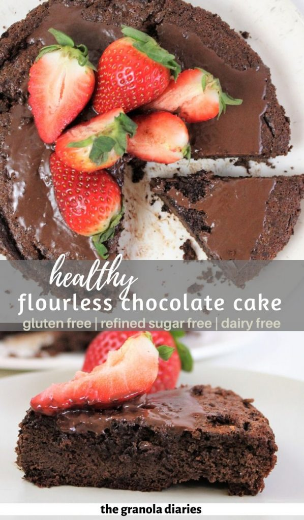 Healthy Gluten Free Flourless Chocolate Cake, also dairy free and refined sugar free. Perfect easy yet decadent dessert! #flourlesschocolatecake #glutenfree #dairyfree #refinedsugarfree #glutenfreedairyfree #easydessert