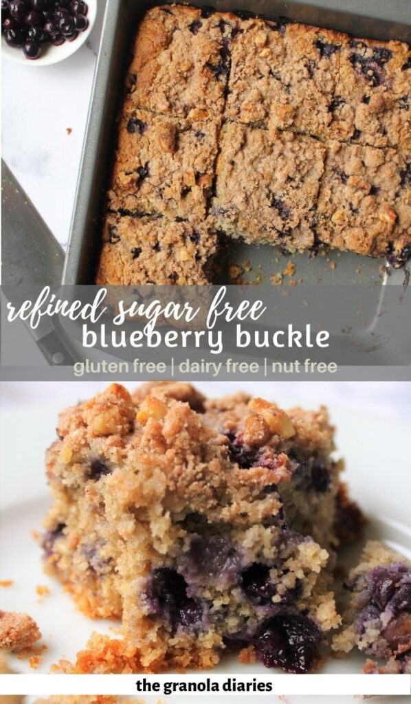 Pinterest image for Healthy Blueberry Buckle, with birds eye view shot on top and close up slice on bottom