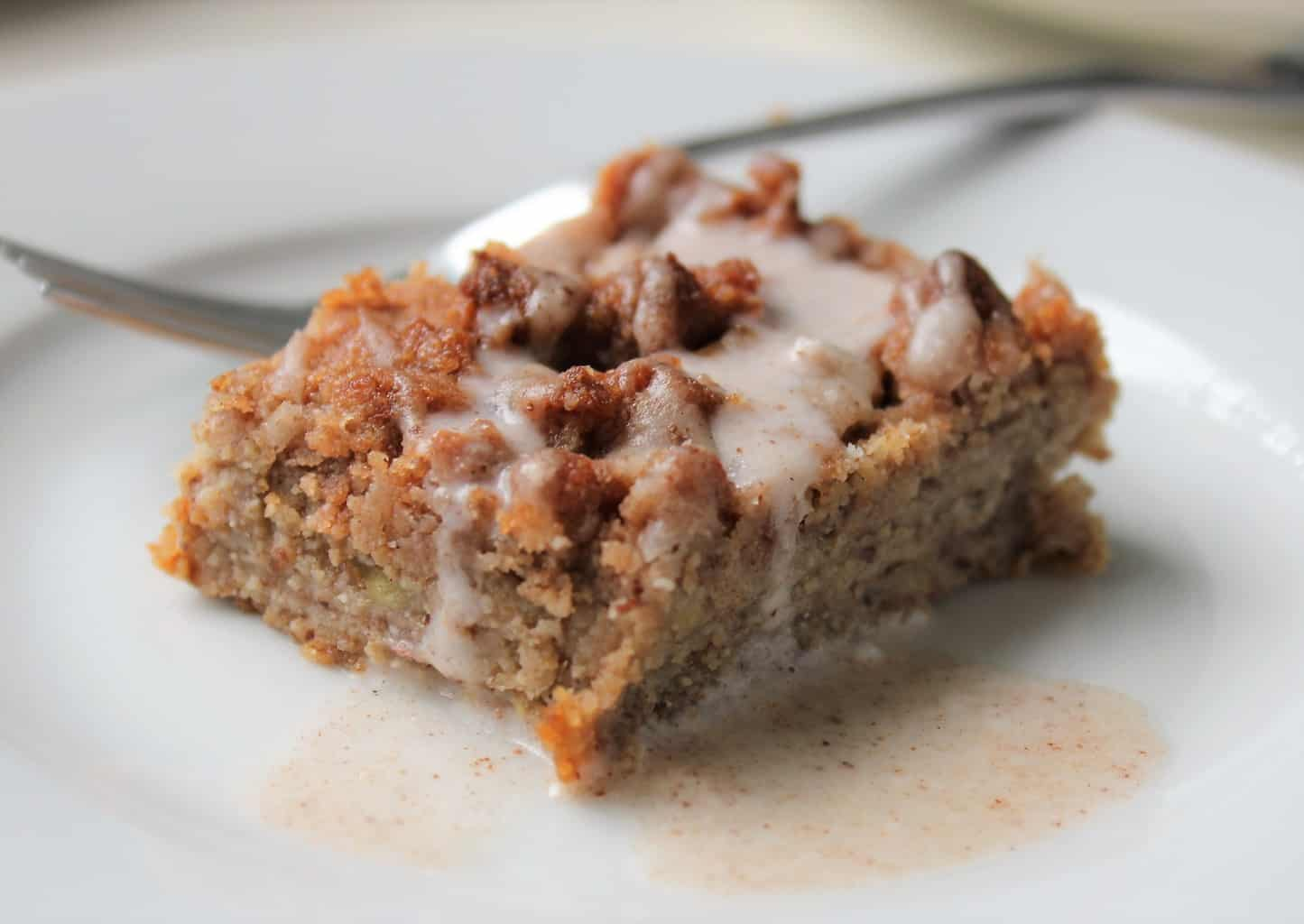 close up of banana coffee cake