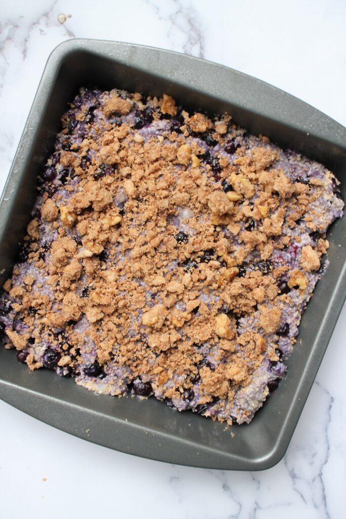 gluten free blueberry cake before going in oven