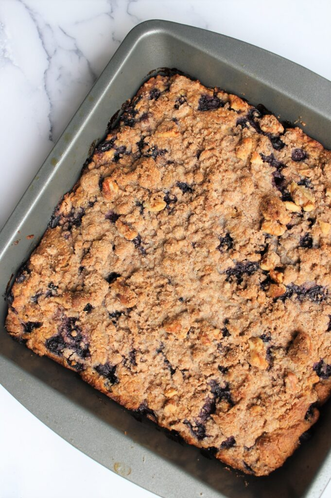 whole blueberry buckle after oven