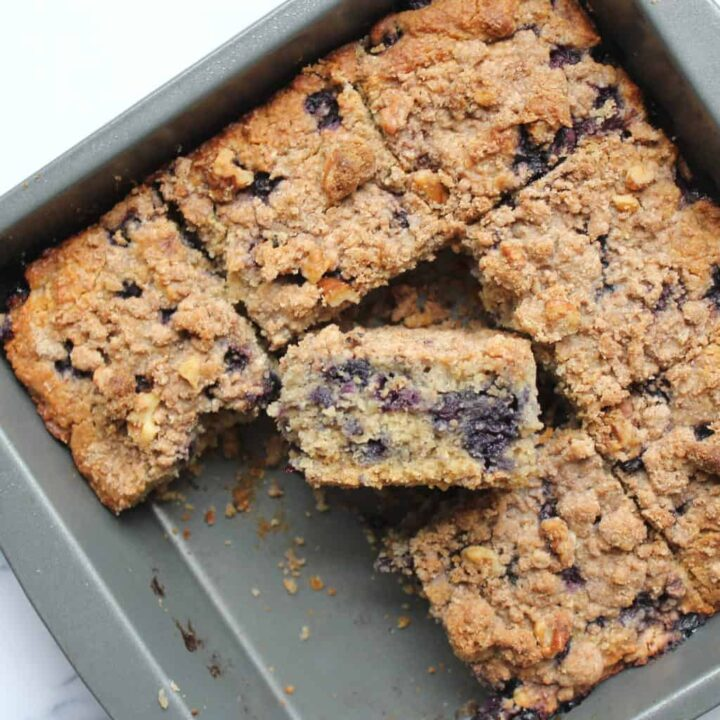 Refined Sugar Free & Gluten Free Healthy Blueberry Buckle