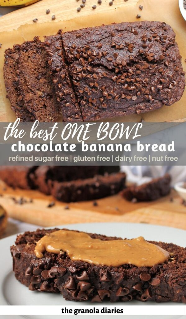 Double Chocolate banana bread, gluten free, dairy free, and refiend suar free! Made in 1 bowl with 6 simple ingredients. It is so simple and so delicious. #refinedsugarfree #dairyfree #chocolatebananabread #onebowlrecipe