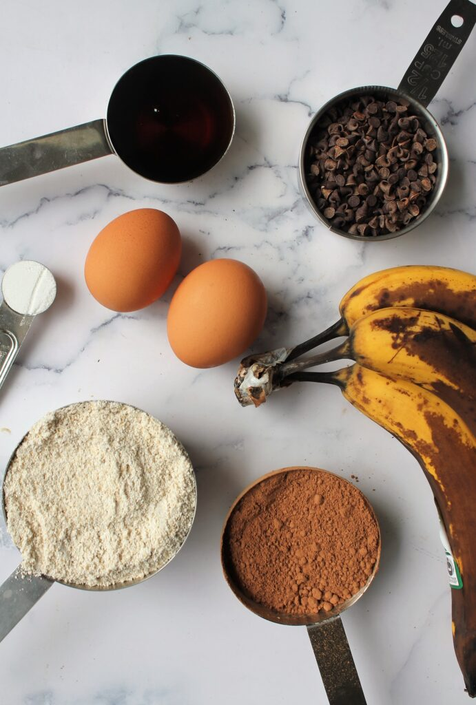 layout of ingredients for chocolate banana bread recipe