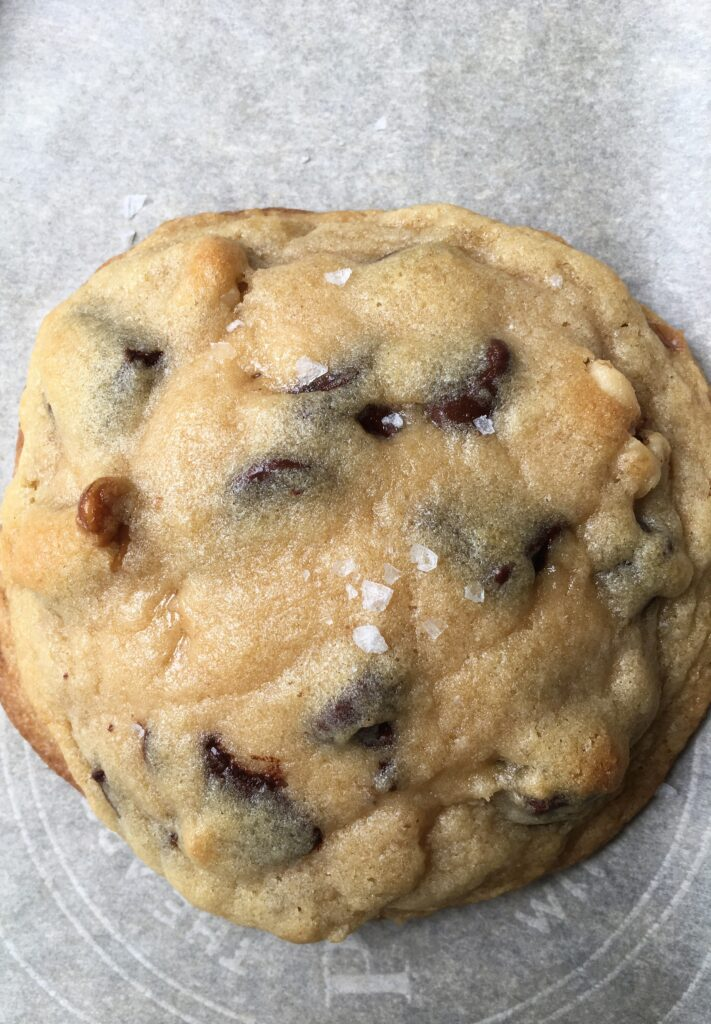 close up of fresh baked cookie