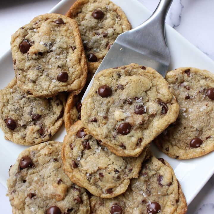 eggless chocolate chip cookies, thin and chewy, being served