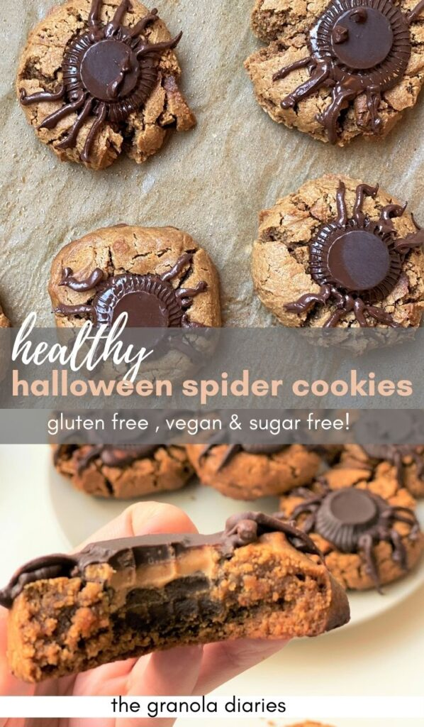 gluten free vegan peanut butter spider cookies halloween #halloween #cookies #glutenfree #vegan #dairyfree easy recipe! great for kids!