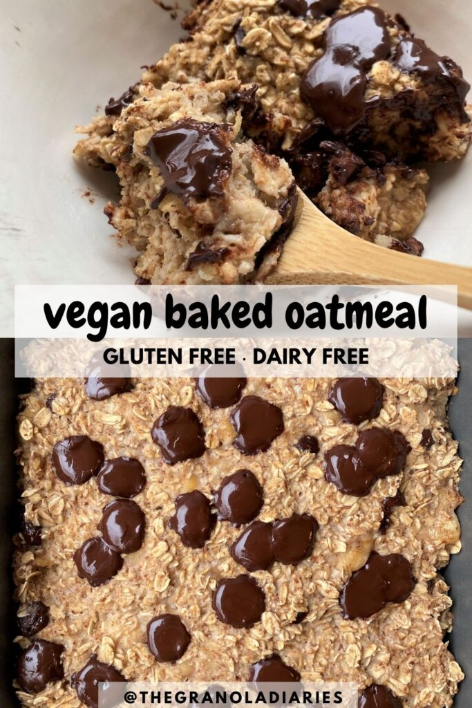 Banana Bread Vegan Baked Oatmeal - Pinterest image. Easy recipe for meal prep breakfast, healthy, gluten free, sugar free