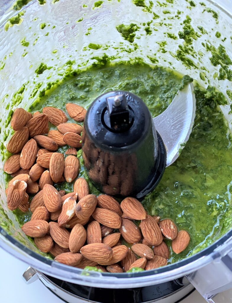 pesto in the food processor with the almonds just added in