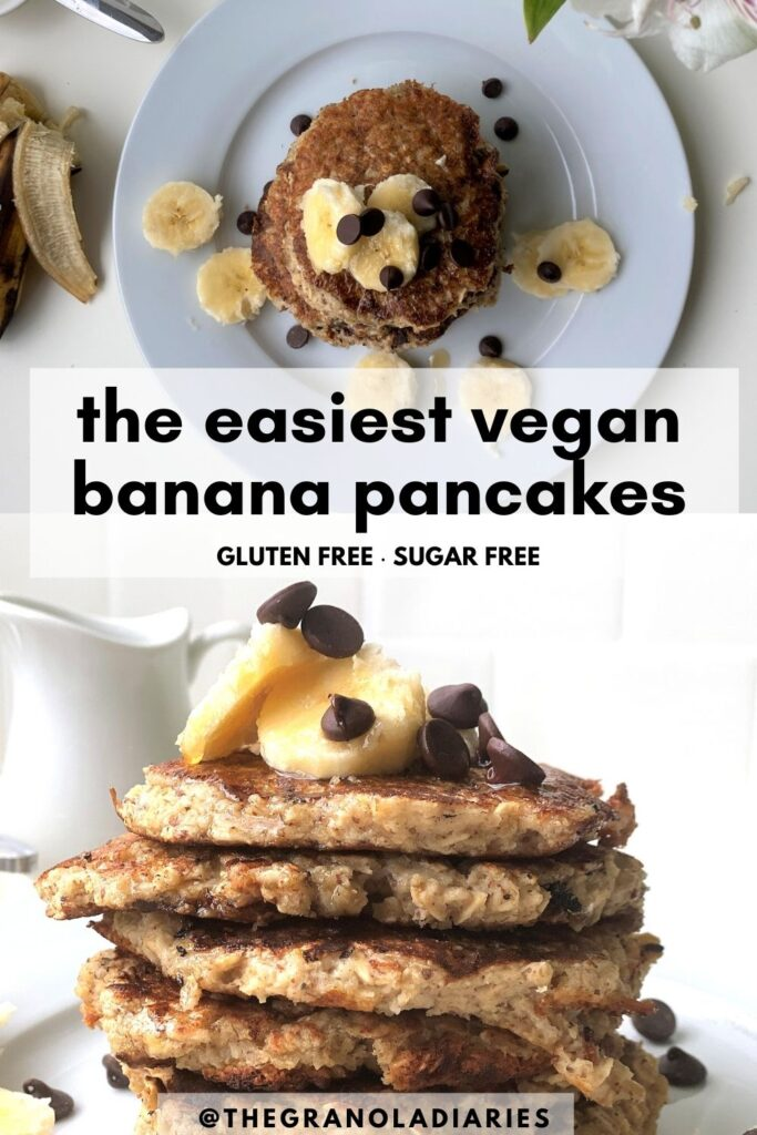 Easy recipe for Vegan Banana Pancakes that are also gluten free and sugar free, Healthy pancake recipe that is so easy to make! #vegan #bananapancakes #glutenfreedairyfree #easyrecipe
