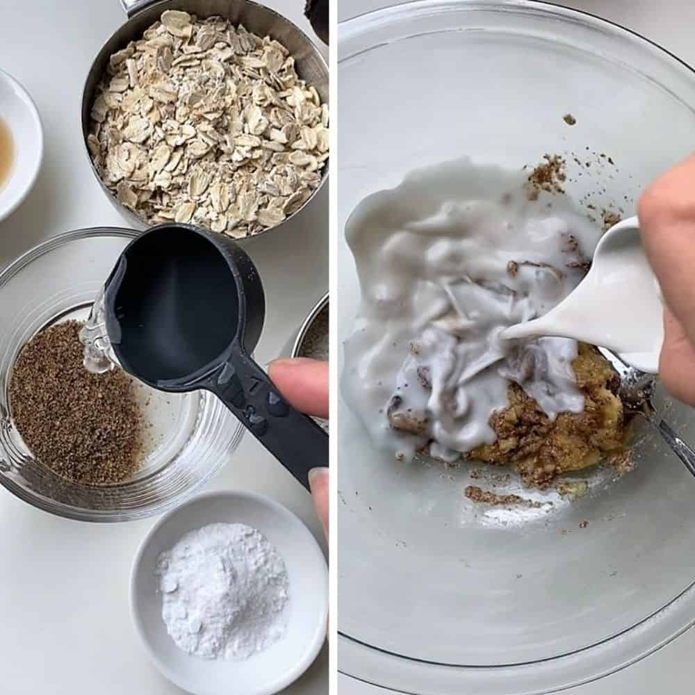 Making a flax egg on the left, and pouring almond milk into the pancake batter on the right